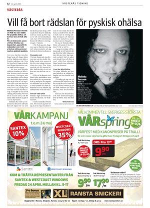 Artikel om Malinka Persson i Västerås tidning 27 april 2015