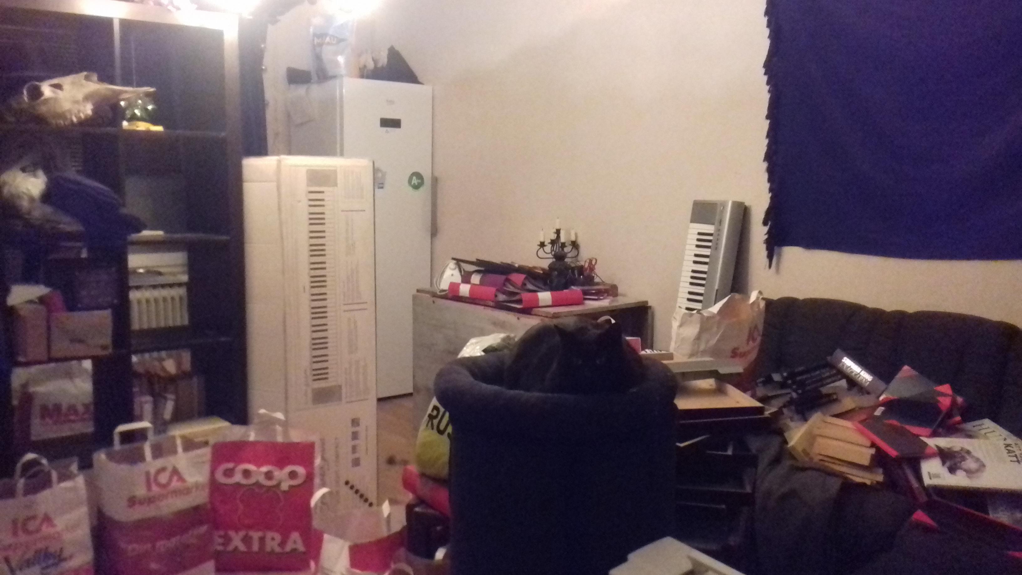 Kaos i mitt vardagsrum - bokkassar precis överallt!